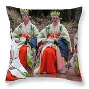 Shrine Maidens From Tsurugaoka Hachimangu Shrine Throw Pillow