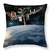 Shuttle Docked At Space Station Throw Pillow