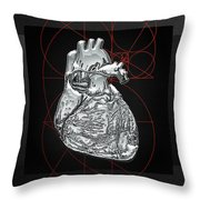 Silver Human Heart On Black Canvas Throw Pillow