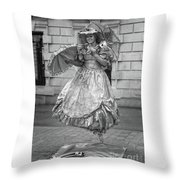 Human Statue - Black And White Throw Pillow