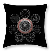 Silver Seal Of Solomon Over Seven Pentacles Of Saturn On Black Canvas  Throw Pillow