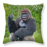 1- Silverback Western Lowland Gorilla  Throw Pillow