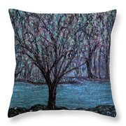 Single Tree On The Grand River Throw Pillow