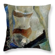 Sitting Girl  Throw Pillow