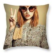 Sixties Retro Fashion Throw Pillow