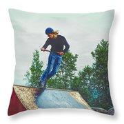 skate park day, Skateboarder Boy In Skate Park, Scooter Boy, In, Skate Park Throw Pillow
