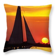 Skipjack At Sunset Throw Pillow