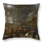 Skittle Players Outside An Inn Throw Pillow