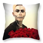 Skull Tux And Roses Throw Pillow