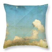 Sky And Cloud On Old Grunge Paper Throw Pillow by Setsiri Silapasuwanchai