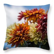Sky Flowers Throw Pillow