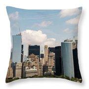 Skyline Of New York City - Lower Manhattan Throw Pillow