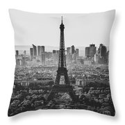 Skyline Of Paris In Black And White Throw Pillow