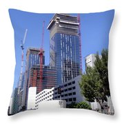 skyscraper construction in Downtown Los Angeles... Throw Pillow