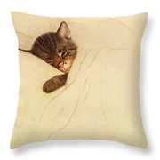 Sleep Like A Kitten Throw Pillow