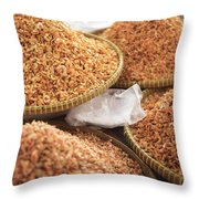 Small Asian Dried Shrimp In Kep Market Cambodia Throw Pillow