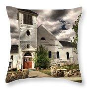 Small Town Church Throw Pillow