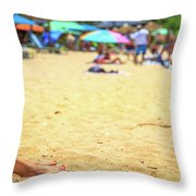 Smartphone Beach Woman Throw Pillow