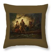 Smuggler In A Boat Throw Pillow