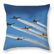Snj  T-6 Texan And Canadian Harvard Aerobatic Team Throw Pillow
