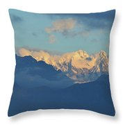 Snow Capped Dolomite Mountains In The Countryside Of Italy  Throw Pillow