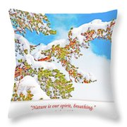 Snow-covered Conifer Throw Pillow