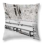 Snow In Central Park Nyc Throw Pillow
