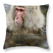Snow Monkey Bath Throw Pillow