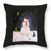 Snowman And Cat Throw Pillow
