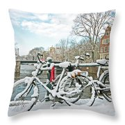 snowy Amsterdam in the Netherlands Throw Pillow