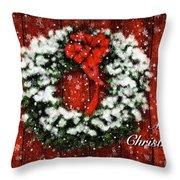 Snowy Christmas Wreath Card Throw Pillow