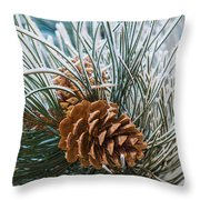 Snowy Pine Cones Throw Pillow