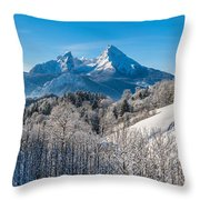 Snowy Church In The Bavarian Alps In Winter Throw Pillow