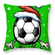 Soccer Christmas Throw Pillow
