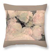 Soft Pink Peonies Throw Pillow