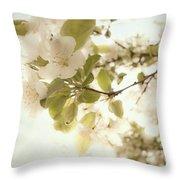 Soft White Flowers Throw Pillow
