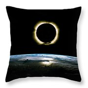 Solar Eclipse From Above The Earth - Infrared View Throw Pillow