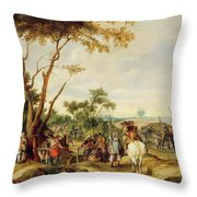 Soldiers Bivouacking Throw Pillow