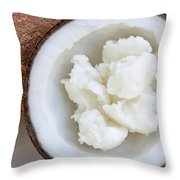 Solid Coconut Oil In Halved Coconut Throw Pillow
