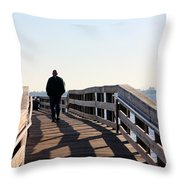 Solitary Man Walks Throw Pillow