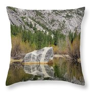 Some Beautiful Scene Of The Famous Mirror Lake Of Yosemite Throw Pillow
