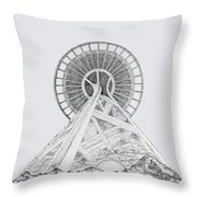 Space Needle- Looking Up Throw Pillow