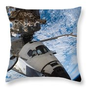 Space Shuttle Endeavour, Docked Throw Pillow