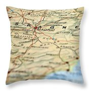 Spain Map Throw Pillow