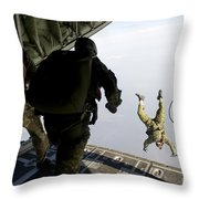 Special Operations Jumpers Exit A C-130 Throw Pillow