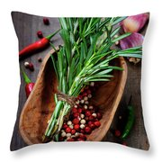 Spices On A Wooden Board Throw Pillow
