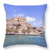 Spinalonga Greece Throw Pillow