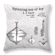 Spinning Top Or Toy Patent Art Throw Pillow