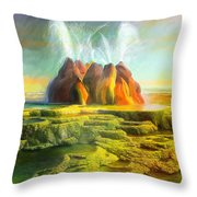 Spitting-fly Geyser In Nevada Throw Pillow