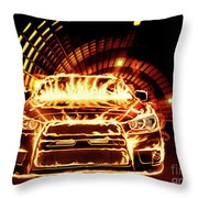 Sports Car In Flames Throw Pillow